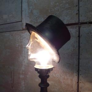 Vintage lamp glazen hoofd