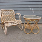 Vintage rotan stoel tafeltje setje