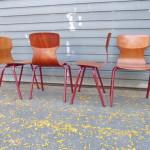 set vintage schoolstoelen