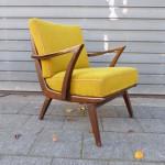 vintage design armstoel fauteuil okergeel